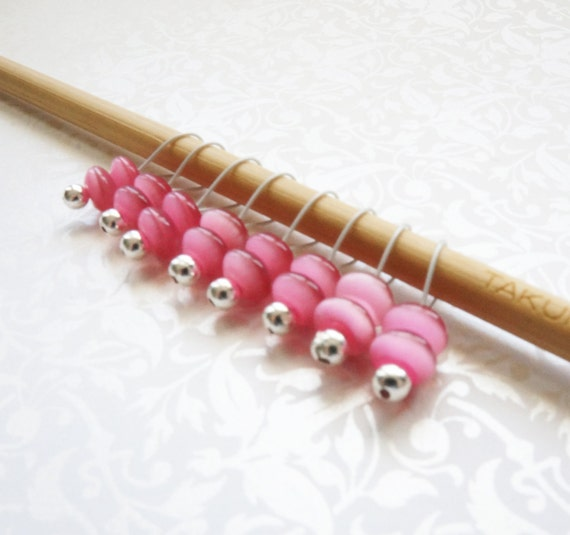 Snag Free Stitch Markers Small Set of 8 Very Pink Cats Eye Glass -- K79--  Up to size US 8 (5mm)