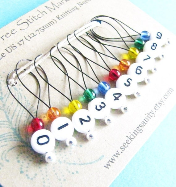 Using Stitch Markers In Knitting : Snag Free Stitch Markers Large Set of 10 Rainbow by seekingsanity