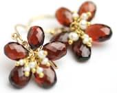 On Sale - Red Garnet Flower Earrings January Birthstone with Freshwater Pearl Clusters