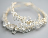Glittering Ice Frosted Hoops in Quartz and Gold Fill