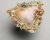 Reserved Statement Ring Solid Gold Silver Bali Star Fossil Coral Sapphire Zircon Labradorite Clusters