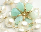 reserved - Flower Necklace Peruvian Opal and Pearl Statement Piece