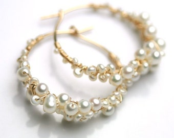 Pearl Encrusted Gold Fill Hoops
