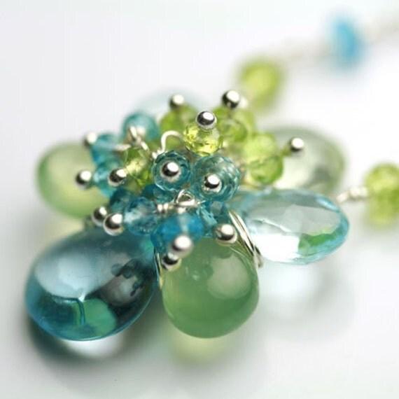 Lush Flower Necklace in Blue Topaz, Prasiolite, Prehnite and Sterling Silver