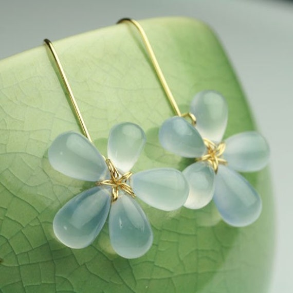 Natural Chalcedony Flower Drop Earrings in Solid 18K Gold