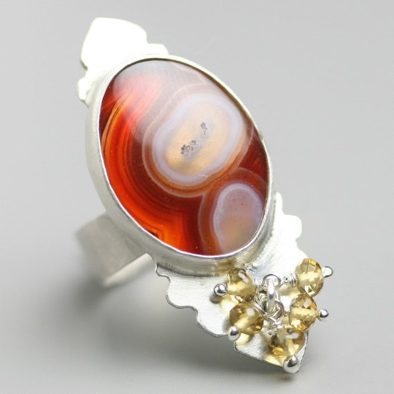 Brazilian Agate Cocktail Ring with Beer Quartz Clusters and Sterling Silver Harvest Colors