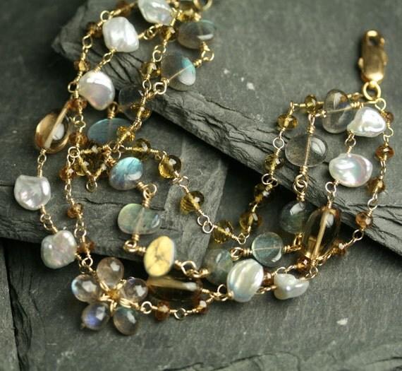 Multi Strand Bracelet Labradorite Quartz Keshi Pearl Gold Fill