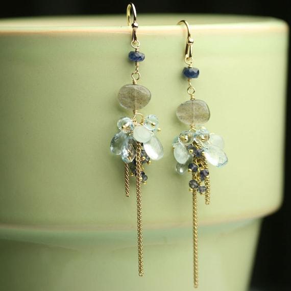 Labradorite Earrings Long Dangle Cluster Aquamarine Blue Sapphire Gold Fill Chain