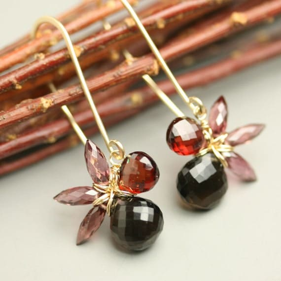 Flower Jewelry Smoky Quartz Red Garnet Gemstone Flower Earrings