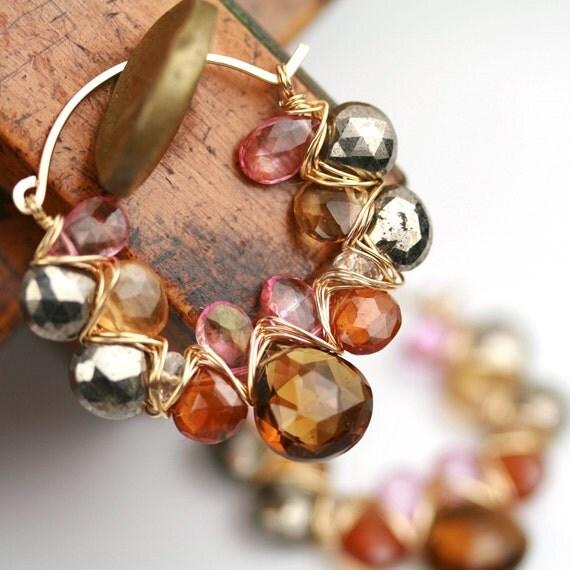 On Sale - Falling Leaves Gem Weave Hoops in Pyrite, Whiskey Quartz, Pink Topaz and Hessonite Garnet