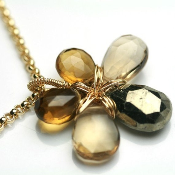 Flower Necklace in Pyrite, Champagne Citrine and Whiskey Quartz