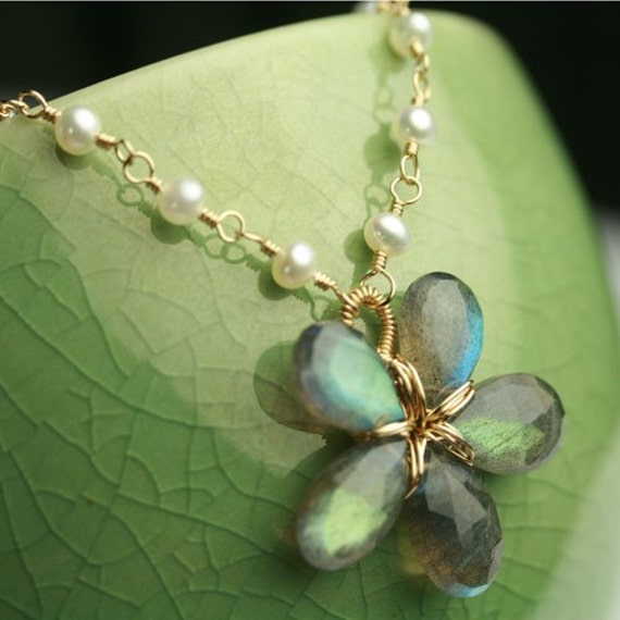 Labradorite Flower Necklace with Pearl and Gold Fill Chain