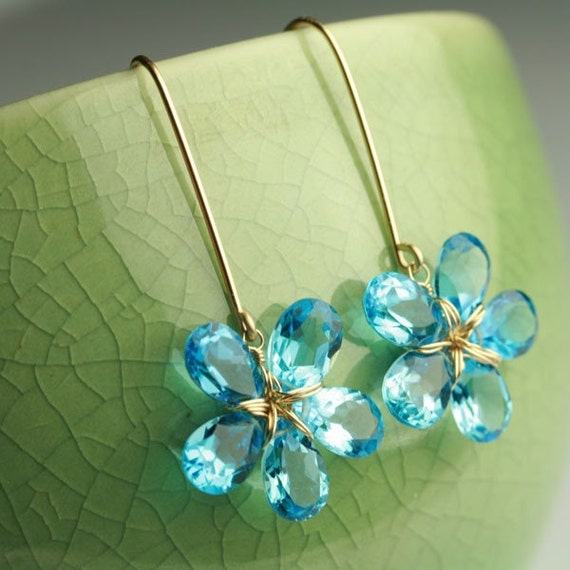 Flower Earrings in Swiss Blue Topaz and 18k Solid Gold