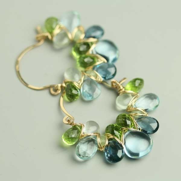 Aquamarine Gemstone Earrings: Blue Topaz Peridot Aquamarine Gemstone Weave Hoop Earrings