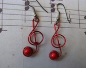 RED MUSIC NOTE earrings wire wrapped
