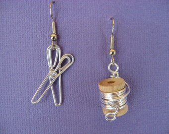 SEWING EARRINGS wire wrapped nickle-free