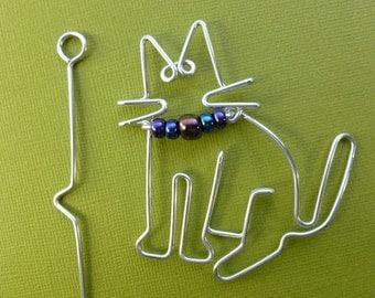 SITTING CAT shawl pin  wirework