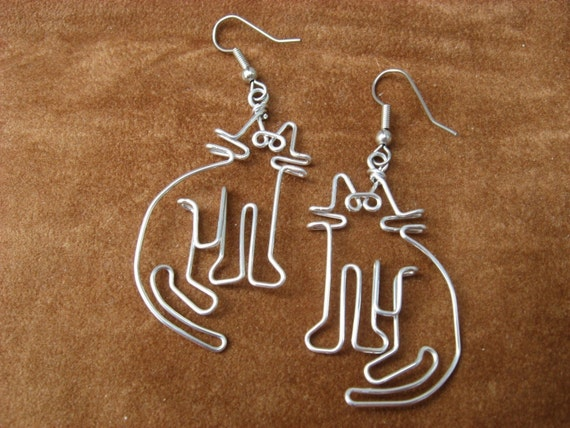 CAT EARRINGS wire wrapped hand made