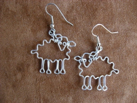 SHEEPS EARRINGS for knitters wire wrapped