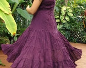 MEGA 40%  OFF SALE grape shirred cotton dress or skirt one size Free Shipping