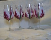 Wine Glasses Handpainted Must See Berrywine and White. One Set Only
