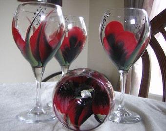 Wine glasses goblet Handpainted, Black Red