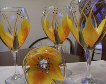 Wine glass/goblet Handpainted, Orange and Yellow