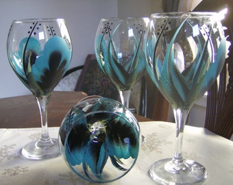 Wine glasses/goblet Handpainted, black and turquoise