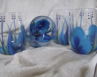 Stemless wine glasses, blue. Hand painted