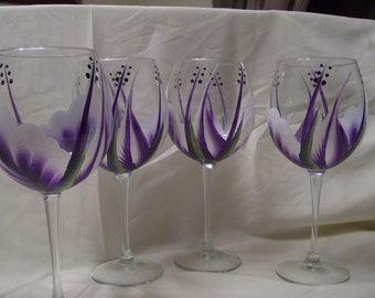 Wine glasses  goblet Purple and White. Must See