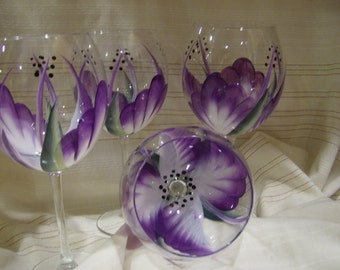 Hand painted Purple wine glasses