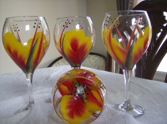 Items Similar To Wine Glasses Goblets Large Tear Drop Red