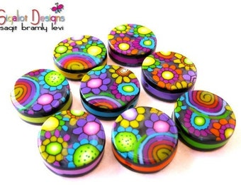 Polymer clay round flat beads (8) -Disco Ball beads - 20mm