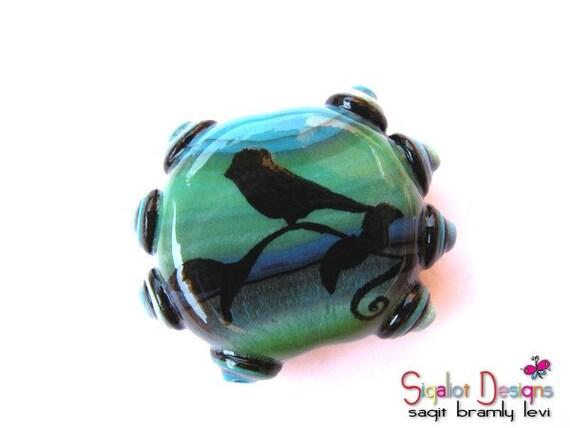 Pacific Bird- Polymer clay focal bead