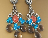 SALE-20% OFF-Flamenco-Rhodocrosite,Neon Blue Apatite,Smoky Quartz Fine/sterling silver chandelier post earrings