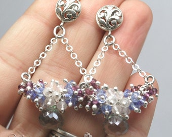 SALE - 50 Percent OFF-Green mystic quartz,rose quartz,tanzanite and garnet sterling silver post earrings