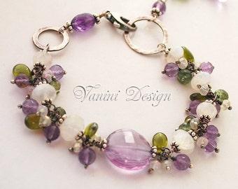 Spring tranquility-Fine/Sterling silver, rainbow moonstone, Amethyst, Vesonite, green apatite bracelet