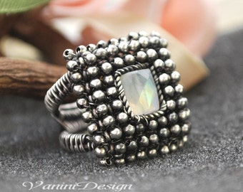 SALE - 35 Percent OFF- Rainbow Moonstone,Sterling Silver Rectangular ring