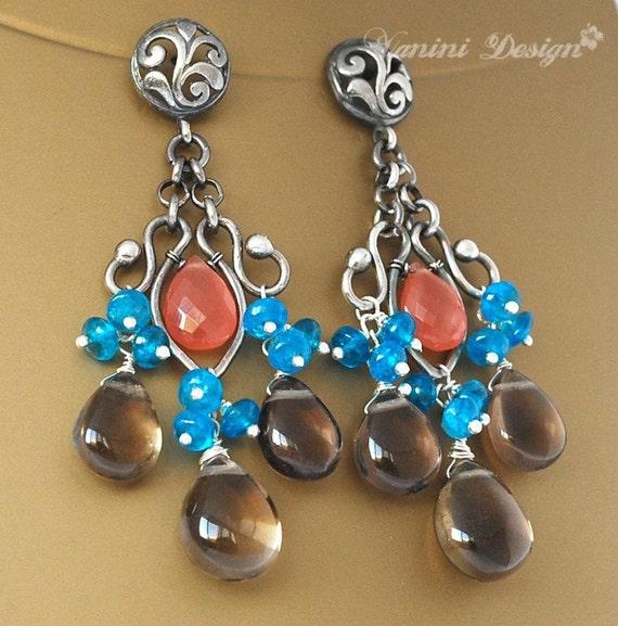 SALE-20% OFF- Flamenco - Rhodocrosite, Neon Blue Apatite, Smoky Quartz Fine/sterling silver chandelier post earrings