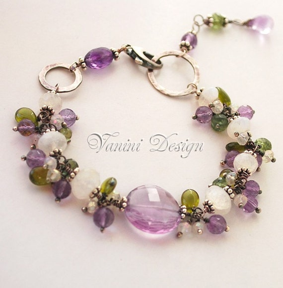 Spring tranquility-Fine/Sterling silver, rainbow moonstone, Amethyst, Vesonite, green apatite bracelet