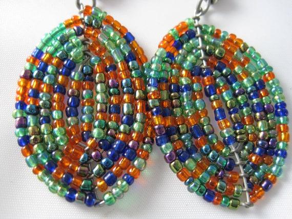 1 pair of African Seed Bead Earrings - Kenyan design - fair Trade