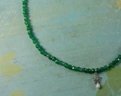 RESERVED deep green diopside lotusdrop necklace