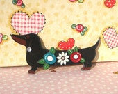 Dachshund black and tan with flowers Pin with Dimension oh so sweet EFA WSPA Haiti Animal Relief