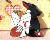 Dachshund Style New Year Chinese Style Pin So much fun and a fortune cookie Black and Tan Doxie