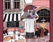 Paris French Dachshund Chef and his Puppies Magnet Original Wiener Dog Art