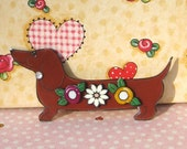 Dachshund with Flowers Pin with Dimension oh so sweet