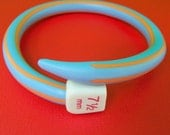 LAST ONES Knitting Needle Bangle Blue/Orange Stripe Original Design