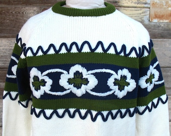 1960s Mid Century vintage Ski  SWEATER - vintage 1960s sweater womens  Mad Men Fashion Avocado, Navy, Cream  - zipper neck