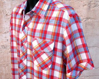1980s Vintage Plaid Shirt, 80s Preppy mens shirt red white blue XL 1970s style short sleeve Alfie shirt Mens vintage plaid shirt flap pocket