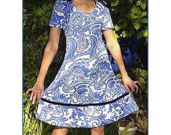 1960s Vintage Dress - Marimekko style mini dress - MOD paisley OP art  A-line empire  -  blue white womens clothing - Medium Spring dress